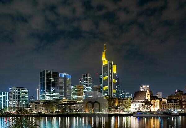 Germany, Hesse, Frankfurt, Frankfurt skyline at night.