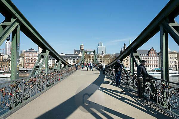 "Germany, Hesse, Frankfurt, bridge of the ""iron pier"" with love locks."
