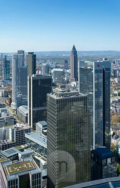 Deutschland, Hessen, Frankfurt, Blick vom Main Tower nach Westen.
