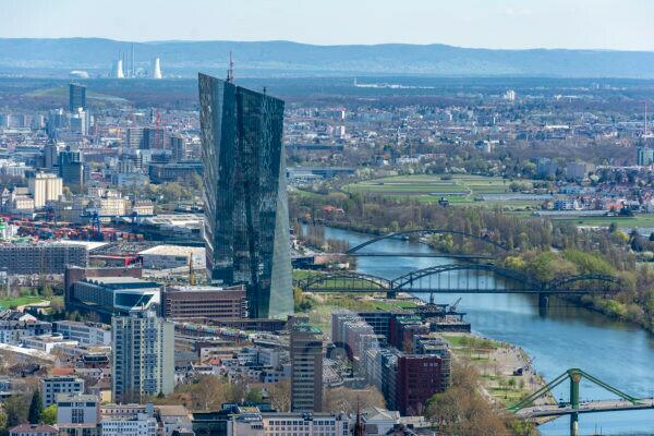 Germany, Hesse, Frankfurt, view from the Main Tower to the European Central Bank (ECB).