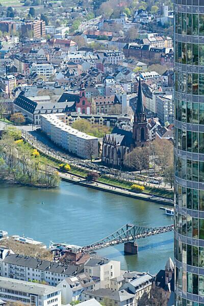 Germany, Hesse, Frankfurt, view from the Main Tower to the Dreikönigskirche.