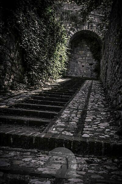 Treppe in Spello, Provinz Perugia, Umbrien, Italien