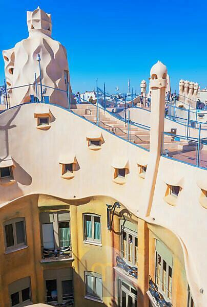 Chimney sculptures on the roof of Casa Mila (La Pedrera) by Antoni Gaudi, UNESCO World Heritage Site, Barcelona, Catalonia, Spain,