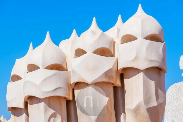 Chimney sculptures on the roof of Casa Mila (La Pedrera) by Antoni Gaudi, UNESCO World Heritage Site, Barcelona, Catalonia, Spain,