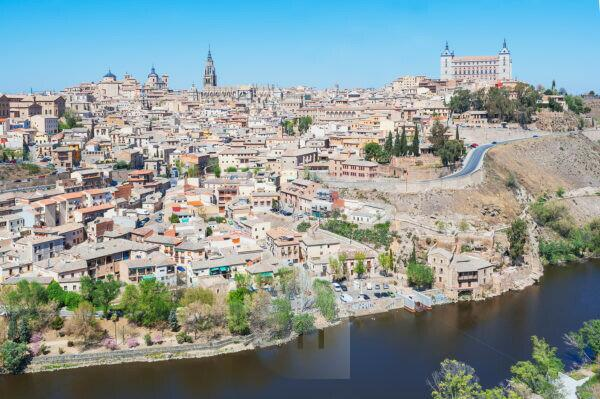 High angle view of Toledo, Toledo, Castilla La Mancha, Spain
