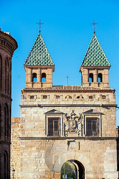 Towers of the Puertas de Bisagra, Toledo, Castilla La Mancha,   Spain, Europe