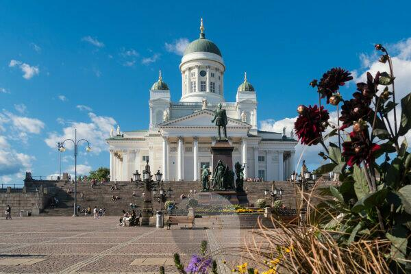 Helsinki, old town, summer, Senate Square, view to the cathedral