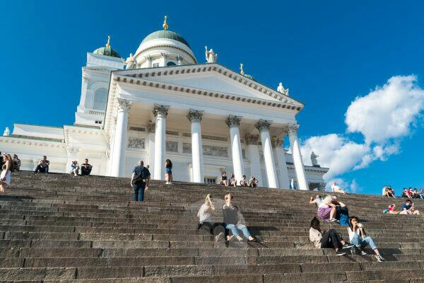 Helsinki, Cathedral, tourists enjoy the view on the cathedral steps