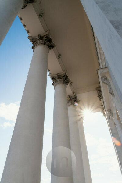 Helsinki, old town, cathedral, columns, backlight