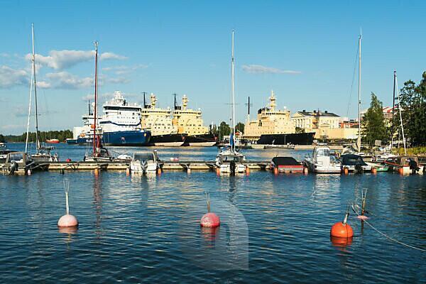 Helsinki, Katajanokka, Marina, in the background the icebreaker base with four icebreakers
