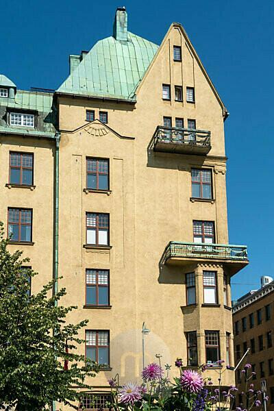 Helsinki, Old Town, Kasarmitori Square, Art Nouveau façade