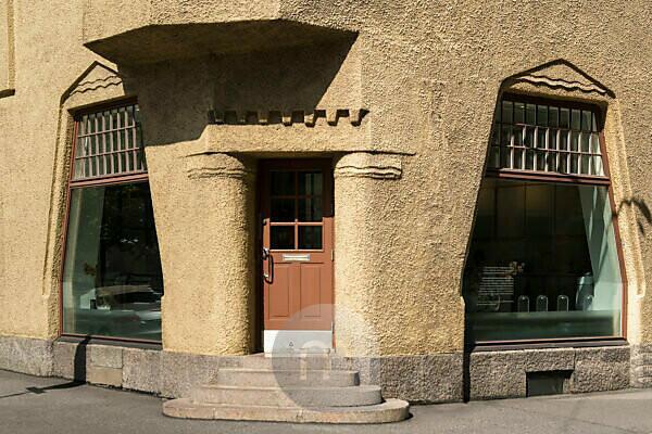 Helsinki, Altstadt, Jugendstil, Eckhaus Pohjoinen Makasiinikatu, Fabianinkatu, Laden