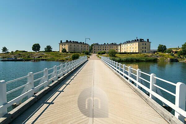 Helsinki, Suomenlinna, Sea Fortress, bridge between Pikku Mustasaari and Länsi Mustasaari