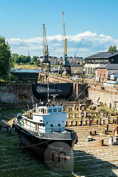 Helsinki, island Suomenlinna, Viaporin telakka, dry dock