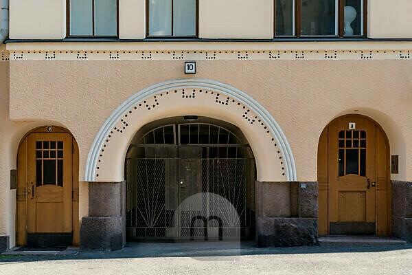 Helsinki, Art Nouveau architecture in the Eira district, Kointähti House, Pietarinkatu 10, portal