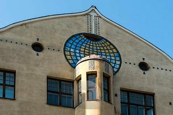 Helsinki, Jugendstilarchitektur im Stadtteil Eira, Haus Kointähti, Pietarinkatu, Detail