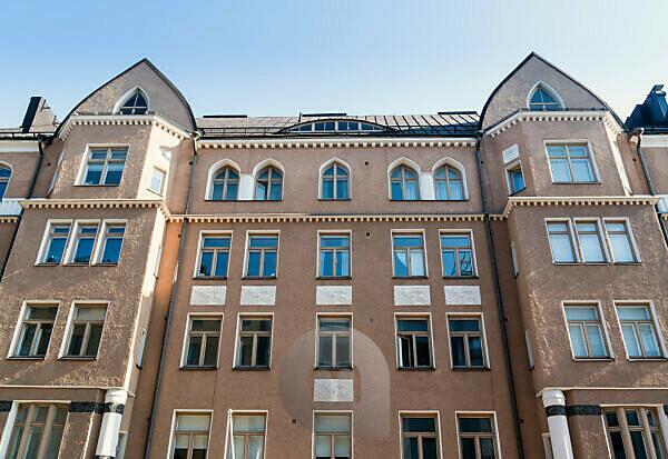Helsinki, Art Nouveau architecture in Eira district, Pietarinkatu 14, facade