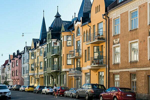 Helsinki, Jugendstilarchitektur im Stadtteil Eira, Juvilakatu, gewählt zur schönsten Straße Helsinkis