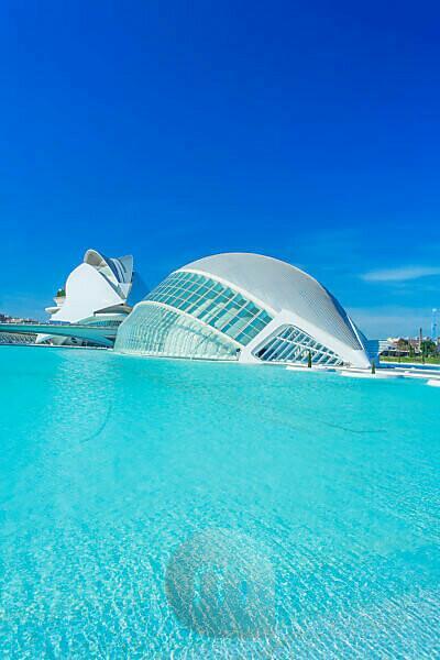 L'Hemisferic and Reina Sofia Arts Palace, City of Arts and Sciences, Valencia, Spain, Europe