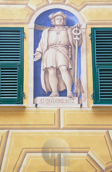Traditional Ligurian house facade, Camogli, Liguria, Italy, Europe