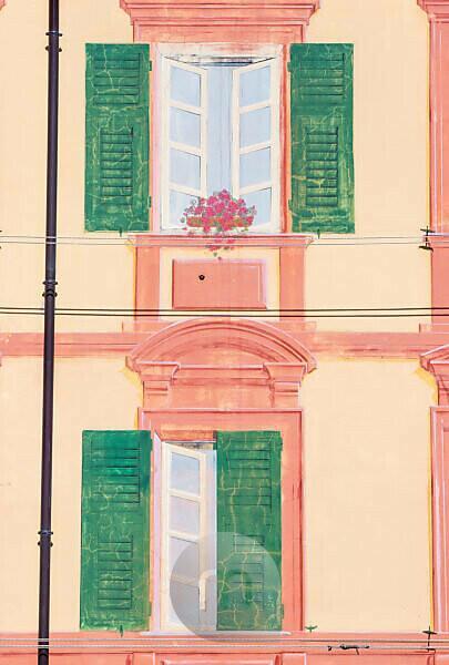 Typical Ligurian house facade, Camogli, Liguria, Italy, Europe