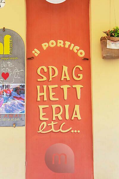 Restaurant sign post, Camogli, Liguria, Italy, Europe