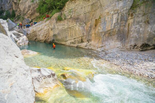 People canyoning in the Gorge du Verdon, Alpes de Haute Provence, Provence, France