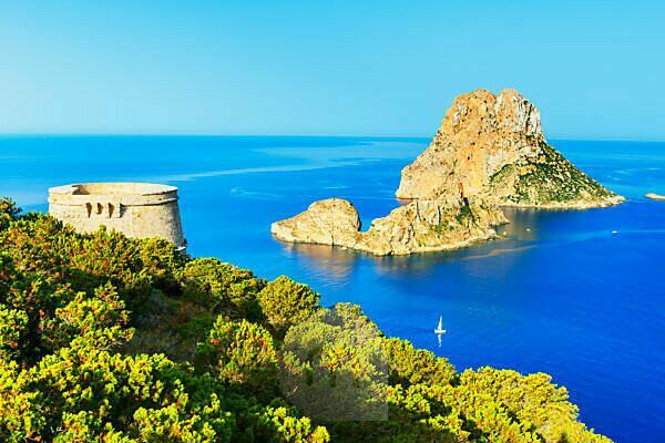 Torre des Savinar and Es Vedra Islands in background, Ibiza, Balearic Islands, Spain,