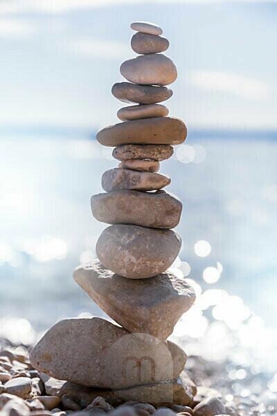 Stack of pebbles on the beach in Stara Baska, island of Krk, Kvarner Bay, Primorje-Gorski Kotar County, Croatia