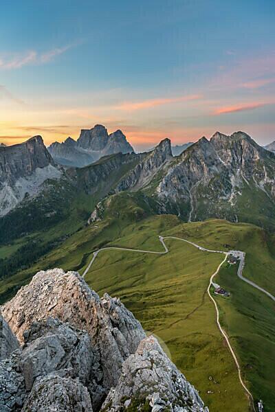 Cortina d'Ampezzo, Belluno, Veneto. Italy. Passo Giau Monte Pelmo and Monte Cernera just before sunrise