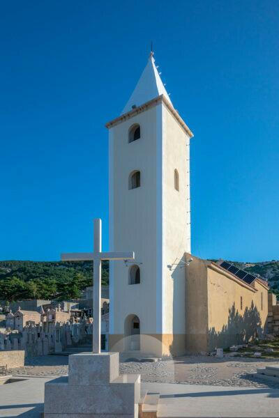 Baska, church Sveti Ivan (church of St. Ivan) after reconstruction of the bell tower year 2019, Krk island, Kvarner bay, Adriatic coast, Croatia