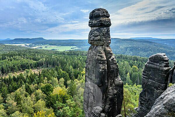 Germany, Saxony, Saxon Switzerland, Königstein, Pfaffenstein, rock needle Barbarine