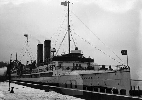 "The railway and train ferry boat ""Deutschland"", built in 1909, before relaunch as ""Stralsund"", Germany 1930s."