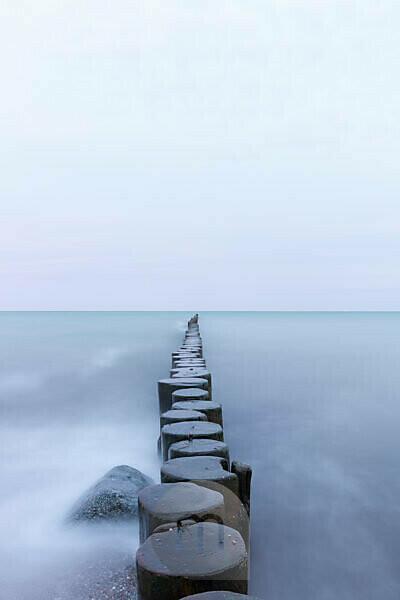 Germany, Mecklenburg-Western Pomerania, Wustrow, breakwater, groynes, Baltic Sea.