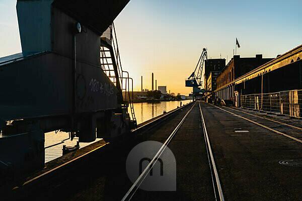 Harbor, Rhine port, Karlsruhe, Baden-Wuerttemberg, Germany, Europe