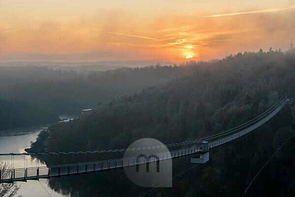 Germany, Saxony-Anhalt, Upper Harz, sunrise, suspension bridge TitanRT at the Rappbodetalsperre, Harz.