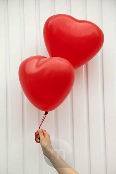 Woman, hand, balloons, heart shape, symbol,