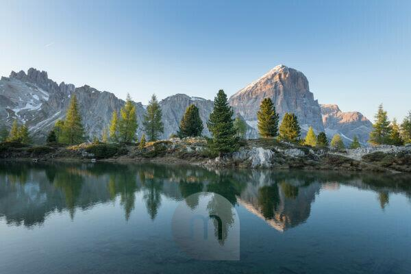 Lago die Limides with reflection of Tofane and Lagazuoi shortly before sunset, Dolomites, Italy