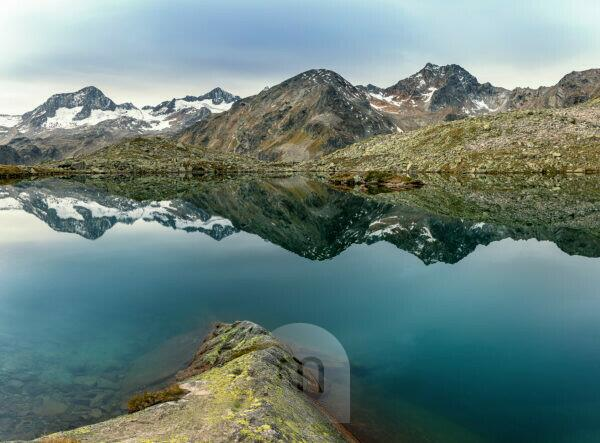 Mutterbergsee in the Stubaital, view of the Stubai Alps, Tyrol, Austria