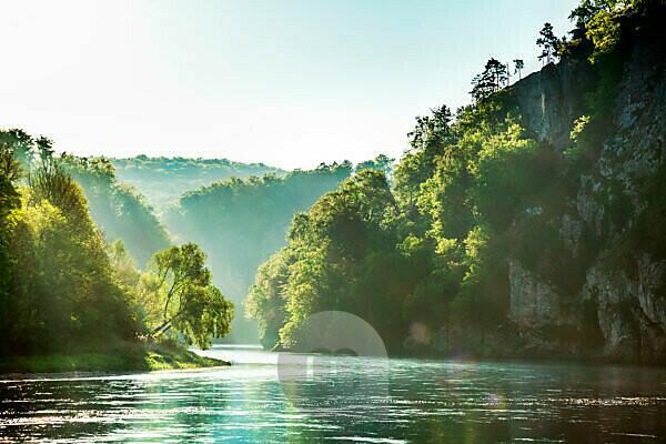 The Danube Gorge Weltenburger Enge at Weltenburg Monastery shortly after sunrise, Kelheim district, Bavaria, Germany