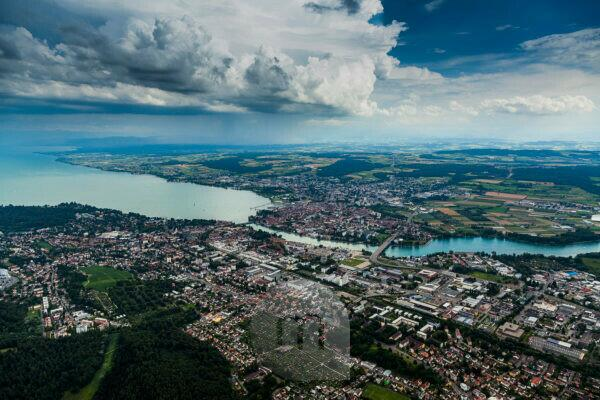 View on Constance on Lake Constance, Constance, Baden-Wuerttemberg, Germany, Europe