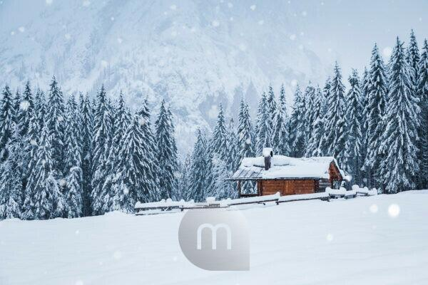 winter landscape with a wooden house in snowy mountains, Ansiei valley, Auronzo di Cadore, Belluno, Veneto, Italy