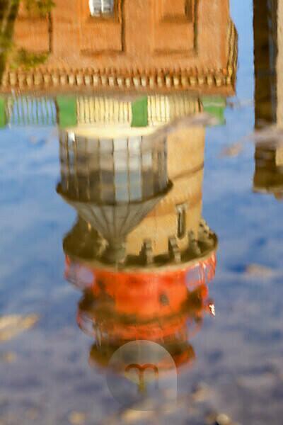 Rügen, Kap Arkona, neuer Leuchtturm, Spiegelung