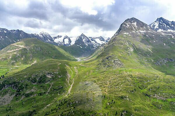 Europe, Austria, Tyrol, Ötztal Alps, Ötztal, Obergurgl, view of the Rotmoostal and the Hohe Mut