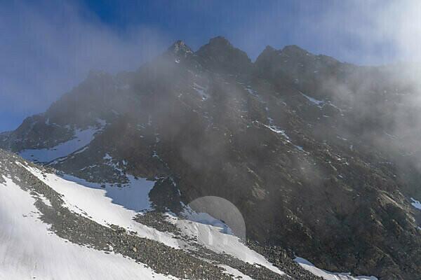Europa, Österreich, Tirol, Ötztaler Alpen, Pitztal, Plangeroß, Blick auf die Verpeilspitze im Kaunergrat