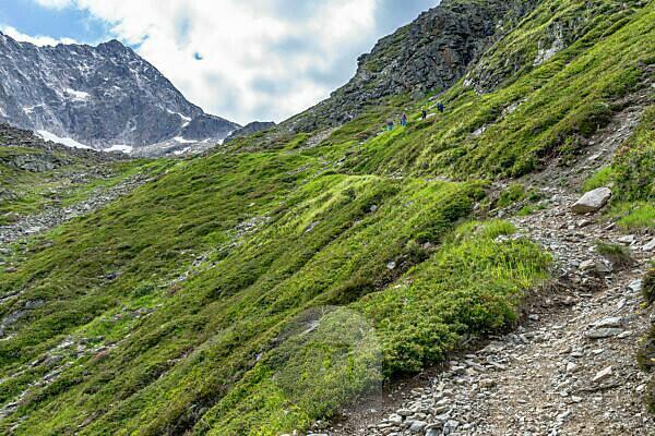 Europa, Österreich, Tirol, Ötztaler Alpen, Pitztal, Plangeroß, Wanderer auf dem Aufstiegsweg zum Karlesegg im Kaunergrat