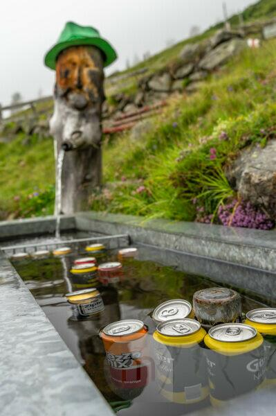 Europe, Austria, Tyrol, Ötztal Alps, Ötztal, Umhausen, beverage fountain on the Gehsteigalm