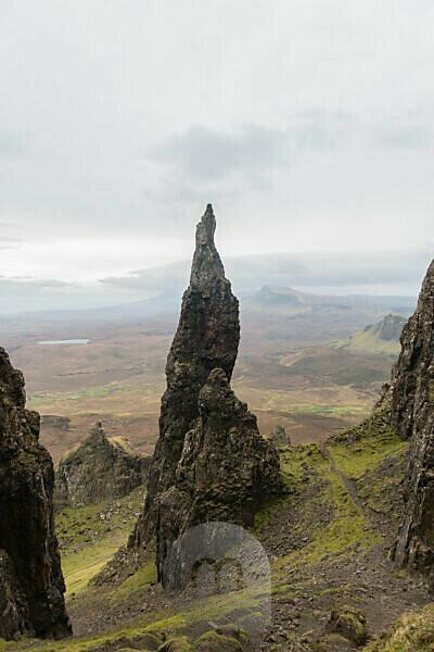 Great Britain, Scotland, Inner Hebrides, Isle of Skye, Trotternish, Quiraing, Adventurous Landscape with The Needle
