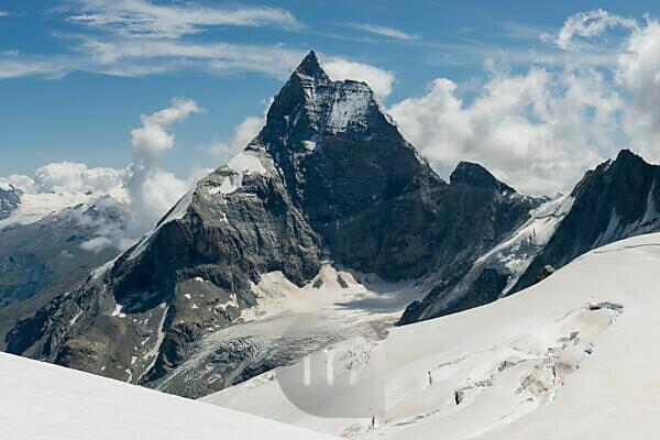 Switzerland, Valais, Haute Route Chamonix Zermatt, Stockji glacier with Matterhorn - Zmuttgrat, west face and Liongrat