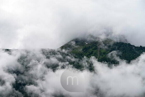 Europe, Austria, Tyrol, Ötztal Alps, Ötztal, Ötztal mountains in a dense cloud cover